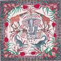 """Nueva Bufanda de Seda de la Mujer 35 """"90 cm Venta Caliente de la Manera de Seda Pañuelo el Río Zambezi Elefante Patrón Hemming Sarga Chal SP168294"""