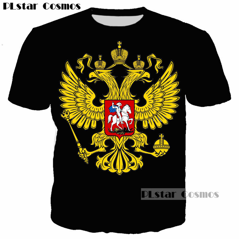 PLstar Cosmos 2018 New Style T-shirts Coat of Arms of Russia T Shirt Men Couple Eagle 3D T-Shirts Plus Size 5XL Custom Tops Tees