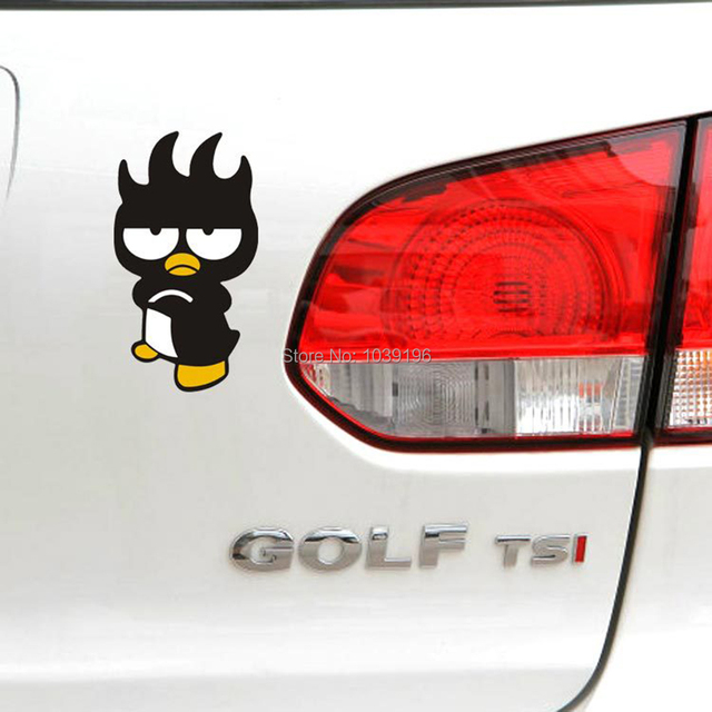 Creative car styling animal mascot xo badtz maru penguin decration decal for peugeot mazda vw