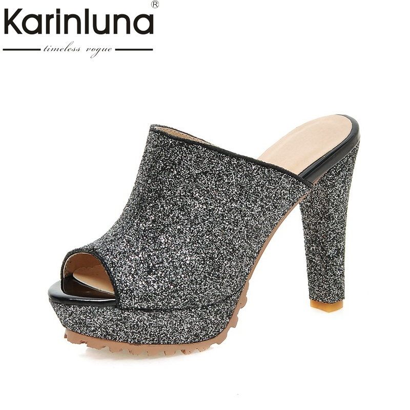 KARINLUNA fashion brand woman shoes women sexy super high heels slip on peep toe platform party mules pumps lady footwear odetina 2018 new fashion women platform mules pumps extreme high heels party sexy shoes peep toe ladies footwear big size 33 43