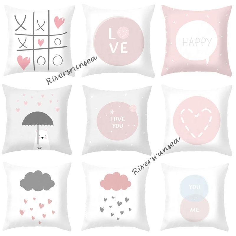 Cute Cartoon Bear Cushion Nordic Lovely Pink Love Heart Cloud Decorative Sofa Throw Pillows For Girl Children Room Decoration