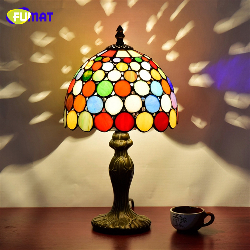 FUMAT European Style Stained Glass Art Deco Table Lamp American Tiffany Bar Restaurant KTV Table Lights LED Glass Shade Lamps tiffany suspension lamp art stained glass rose lamp living room restaurant european style tiffany pendant lights