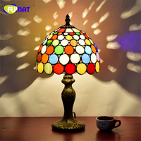 FUMAT European Style Stained Glass Art Deco Table Lamp American Tiffany Bar Restaurant KTV Table Lights LED Glass Shade Lamps