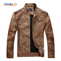 Mens Leather Jackets Fashion Slim Solid Coat PU Clothes Male Winter Long Sleeves Stand Collar Motorcycle