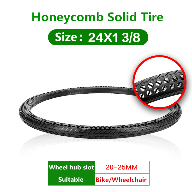 24*1 3/8 Bicycle Tires 24 Inch Tires Bike Bicycle Tires Honeycomb Solid Tire Black 24x1 3/8 Solid Tires 2pcs pro line rock rage 3 8 inch tire w f 11 black 1 2inch offset 17mm wheels for tmaxx erevo summit 1199 13