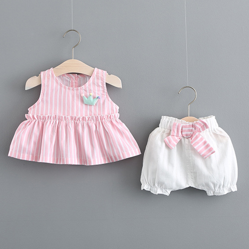 Summer Baby Girl Clothes Sleeveless Tops +Pants Baby Suit 1st Birthday Pink Newborn Baby Girl Clothes ...
