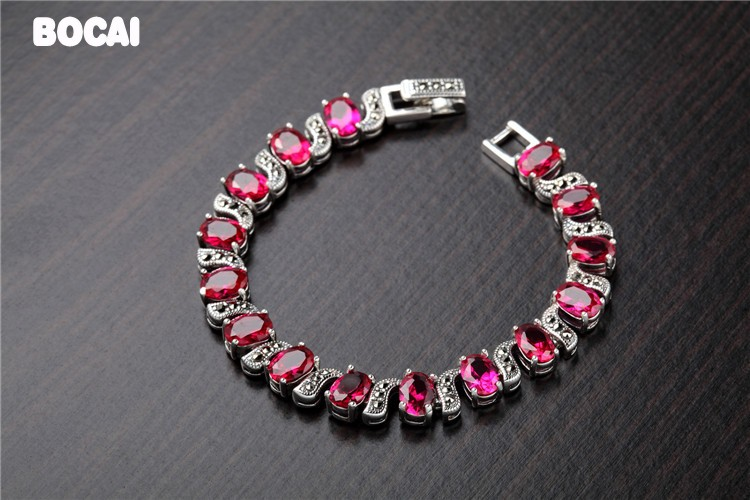 925 sterling silver Thai silver red corundum bracelet retro fashion ethnic style925 sterling silver Thai silver red corundum bracelet retro fashion ethnic style