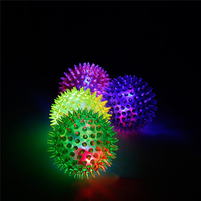 CYSINCOS Light Toys 1PCS LED Plastic Random Color Volleyball Flashing Light Up Changing Bouncing Hedgehog Ball Fun Toys For Kid