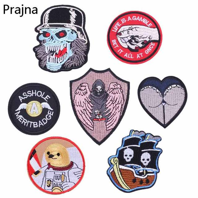 Prajna Asshole Merit Badge Biker Patch Slipknot Punisher Motorcycle Patches Stripe On Clothes Backpack Embroidery Iron On  F