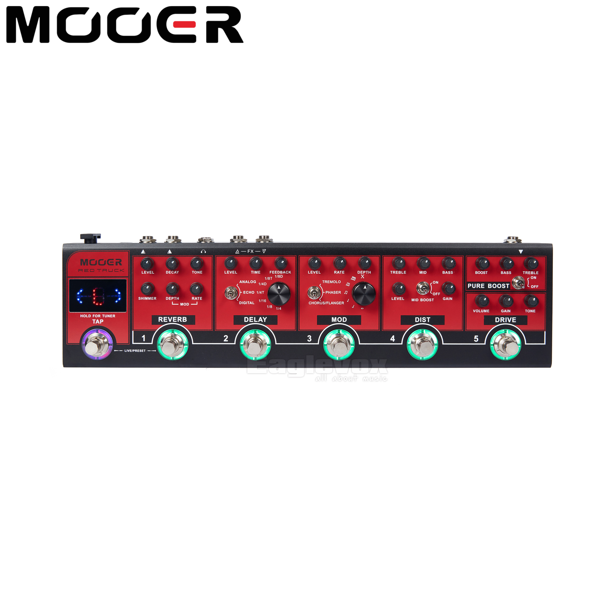 MOOER Red Truck Effect Pedal Boost Modules Built-in Tuner Modulation Delay Reverb Distortion Overdrive Tap Tempo Multi Effects mooer flex boost guitar pedal with wide gain range boost enough working along as a best overdrive