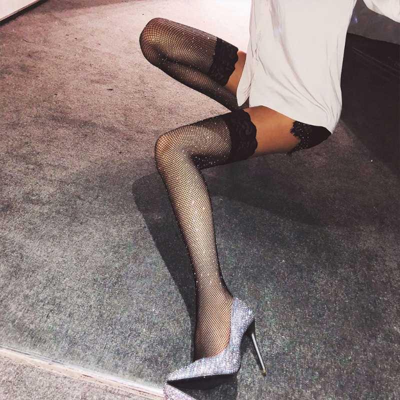 Kadınlar Parlak Diz Uzun Önyükleme Üzerinde Fishnet Dantel Stocking Seksi Uyluk Sıkı Külotlu Çorap