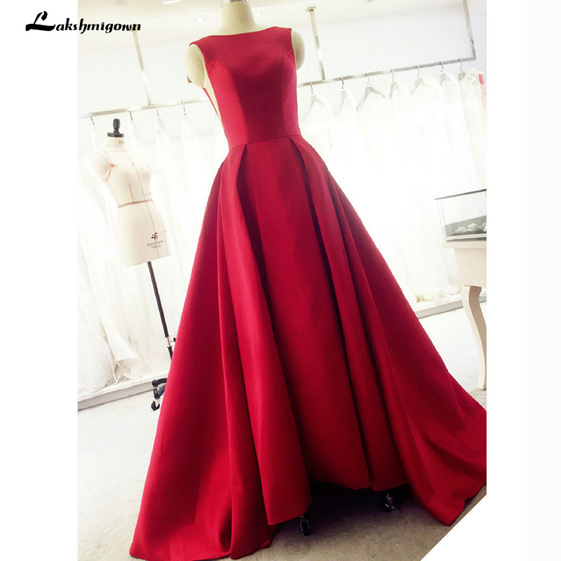 Evening Dress Long Red Elegant Satin Backless Prom Party Dresses Evening Gown Abendkleider Abiye Robe De
