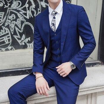 2018 autumn Men's Fashion suit Men Suits Brand Clothing High Quality Wedding Dress Formal Prom Suits Mens (Vest+Coat+Pant)