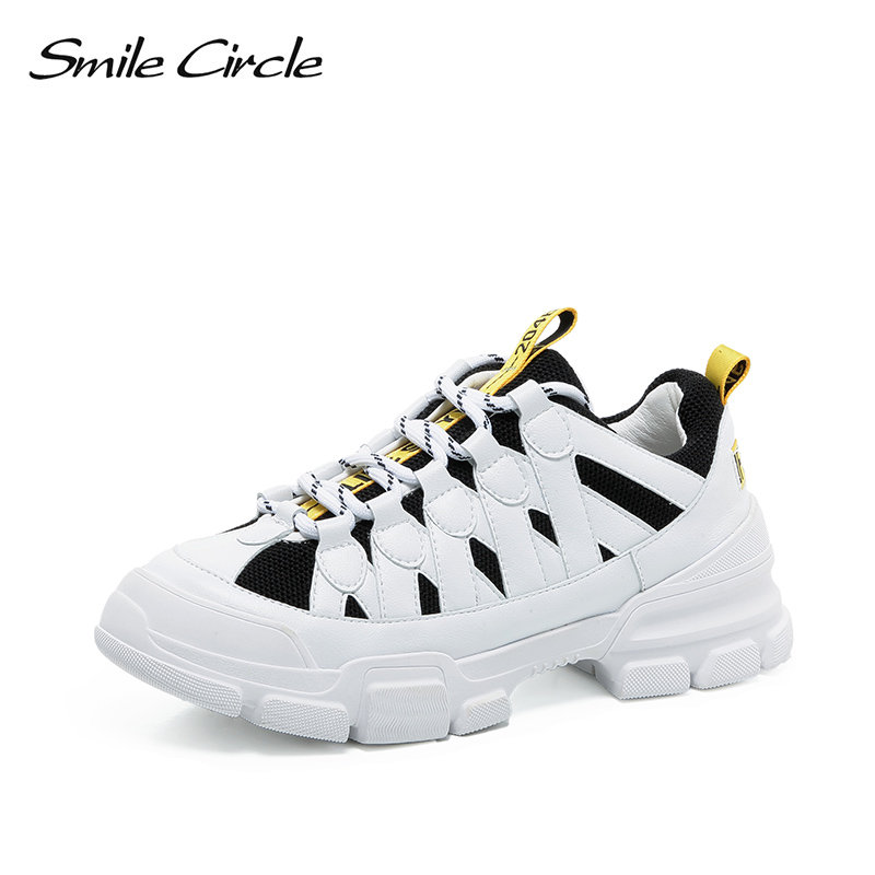 Smile Circle Women sneakers platform casual shoes 2018 Autumn Fashion Lace-up mixed colors chunky sneakers ladies shoes smile circle spring autumn women shoes casual sneakers for women fashion lace up flat platform shoes thick bottom sneakers