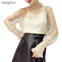 Female Women Top Mesh Pearl Beading Blouse Early Autumn Fashion Stand Collar Puff Sleeve Shirts Black