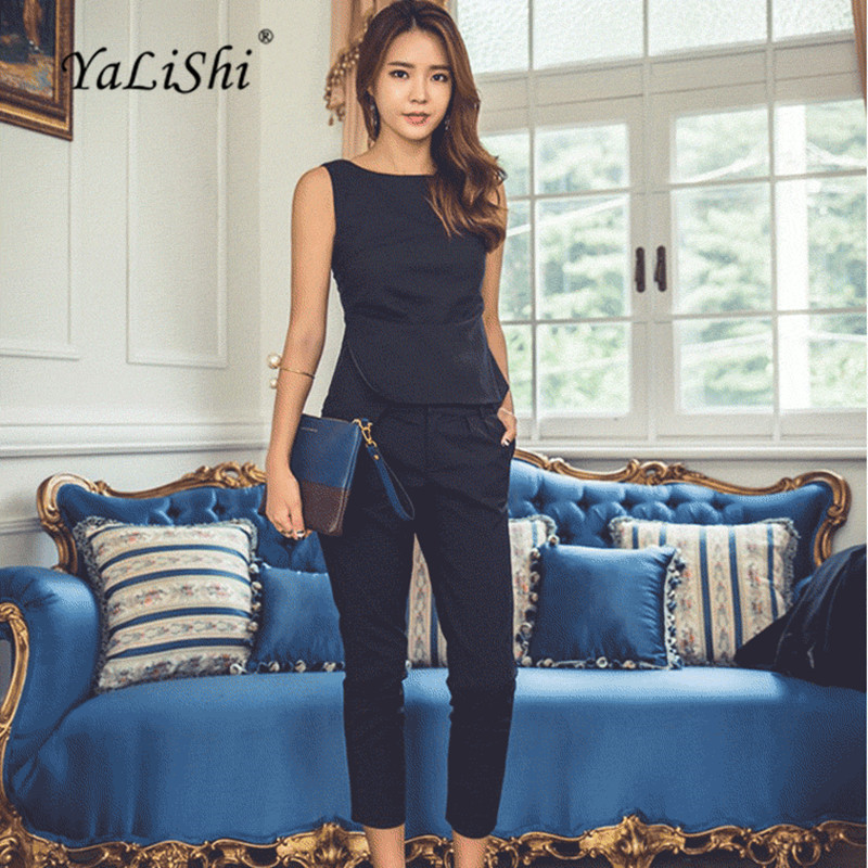 YaLiShi 2 Piece Set Black Navy Women Suit 2018 Summer Sleeveless O-Neck OL Blouse Shirt Tops and Pants Crop Top and Pant Set