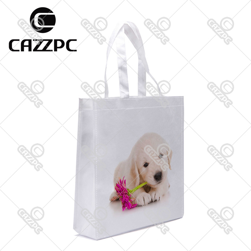 Golden Retriever Puppy Dog Pet with Flower Print Custom Non-Woven Fabric Reausble Grocery Shipping Storage bag Pack of 4