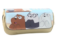 2017 cute cartoon us naked bear pencil case multi-function double zipper canvas bag school office storage