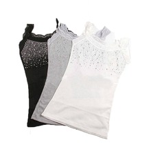 Spring Summer Sexy Sleeveless Lace Tank Top Women Rhinestone Sequin Girls Tops Camisole