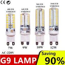 G9 светодиодный 7 Вт 9 Вт 10 Вт 12 Вт AC220V 240V G9 светодиодный светильник светодиодный лампы SMD 2835 3014 светодиодный g9 светильник заменить 30/Лампа, заменяющая галогенновую лампу 40 Вт светильник
