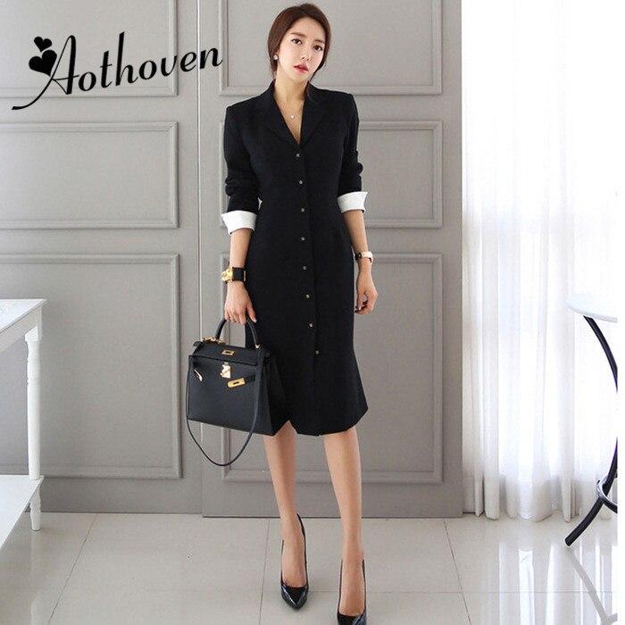 Femme d'affaires noir OL robe de sirène 2018 automne formel simple boutonnage à manches longues moulante col cranté travail robe Vestidos