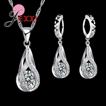 Фотография 925 Sterling Silver Classic Drop Shape White Crystal Jewelry Sets Water Wave Necklace Pendant Hoop Earrings