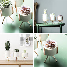 Ins Nordic Flower Pot Iron Frame Vase Succulents Plant Pot Hydroponic Culture Flower Container(China)