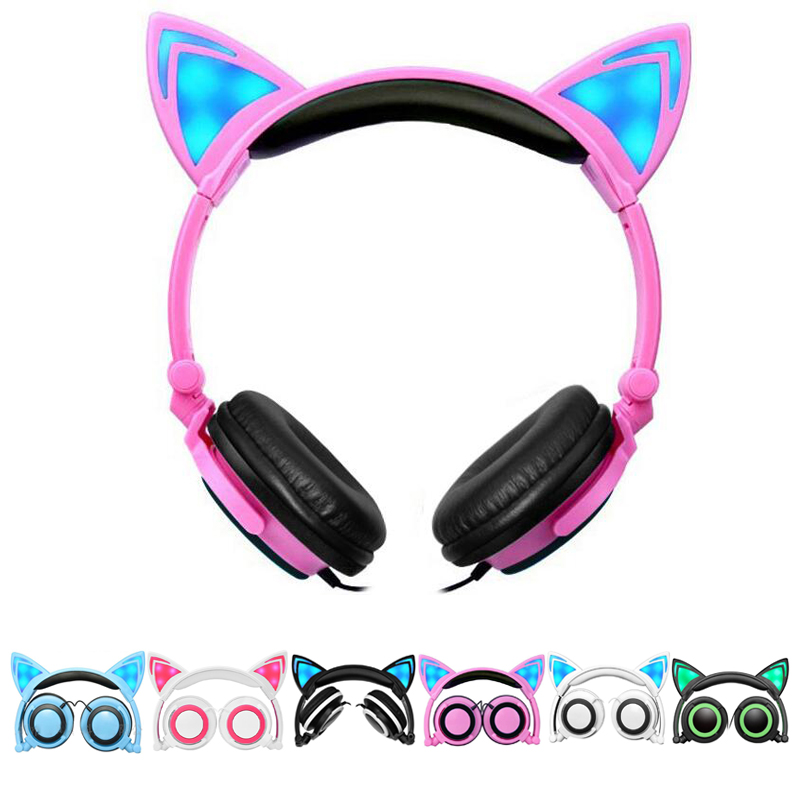 Foldable Cute Cat Ear headphone LED Flashing Glowing Sport Headset Wired DJ AUX Big Earphone For Kids Girls iPhone Xiaomi Earbud glowing sneakers usb charging shoes lights up colorful led kids luminous sneakers glowing sneakers black led shoes for boys