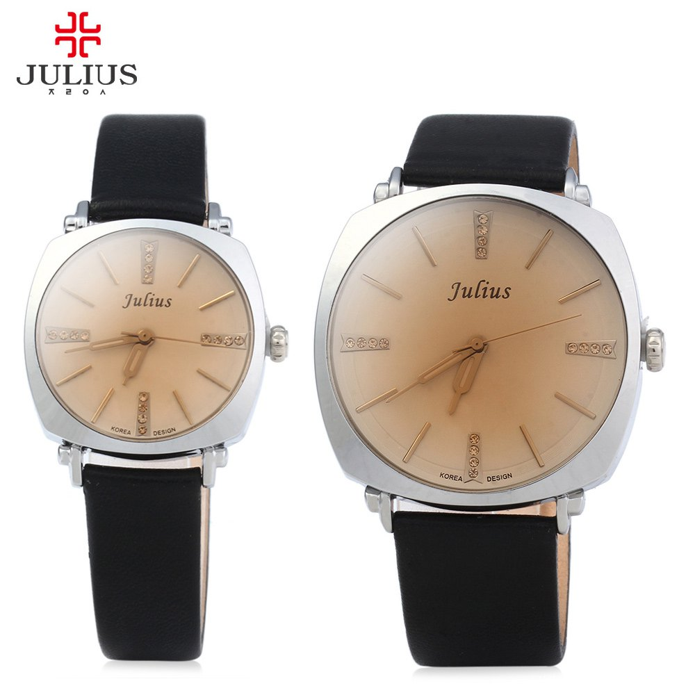 Julius Couple Quartz Watch, Luminous Pointers Lovers Dress Watches, Men Women Waterproof Leather strap Wrist Watches