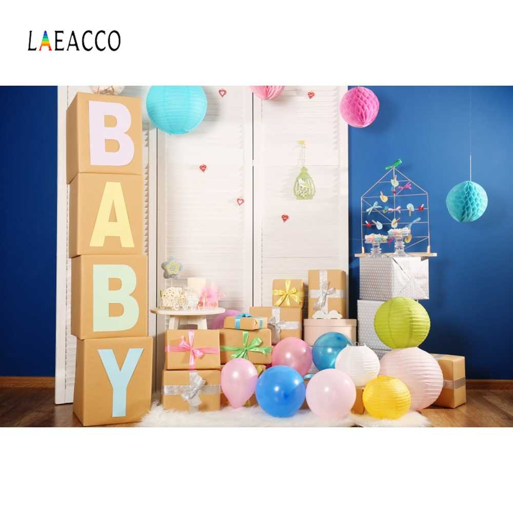 Laeacco Baby Birthday Party Newborn Balloons Gifts Room Scene Photography Backgrounds Photographic Backdrops For Photo Studio
