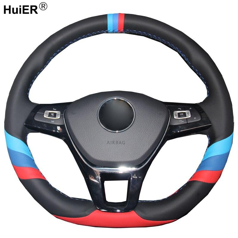 Housse de volant de voiture à coudre à la main en cuir suédé pour Volkswagen VW Golf 7 Mk7 nouvelle Polo Jetta Passat B8 Tiguan Sharan Touran
