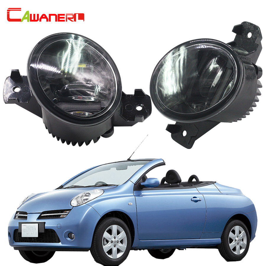 Cawanerl 1 Pair Car LED Fog Light White DRL Daytime Running Lamp Styling For 2005-2015 Nisssan Micra C+C (K12) Convertible cawanerl 1 pair car light led fog lamp drl daytime running light white 12v for subaru trezia hatchback 1 3 1 4d 2011 onwards