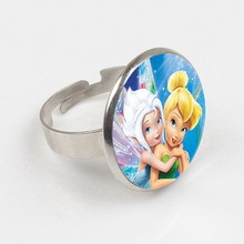 New Fashion Tinker Bell Ring Cute TinkerBell Ring Accessories for Child Girls Glass Cabochon Ring цена 2017