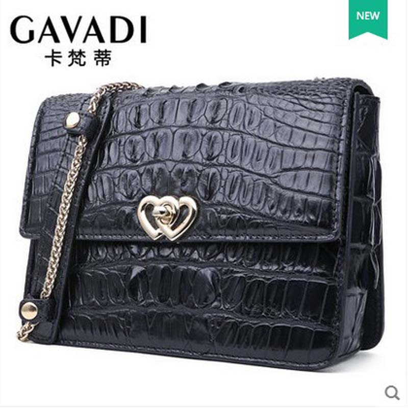 kafandi The new Single shoulder bag female luxury crocodile skin cross-bag fashion  small women flap bag chain girl bag yuanyu real snake skin women bag new decorative pattern women chain bag fashion inclined single shoulder women bag