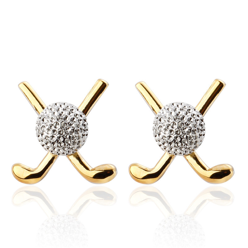 DoreenBeads Alloy Silver Fashion Cufflinks Gold Golf Clubs Rhinestone Ball Creative Personality Gift For Men Cuff Link ,1 Pair