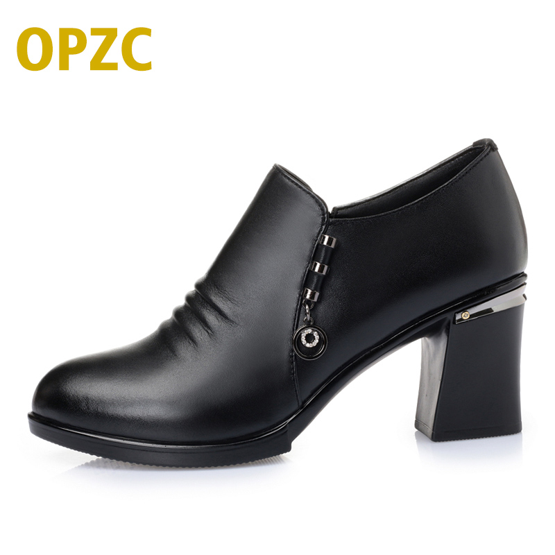 Genuine leather woman shoes 2018 spring new thick with high-quality cowhide shoes wedding heels # 35, free shipping процессор intel core i5 6600 3 3ghz 6mb socket 1151 box