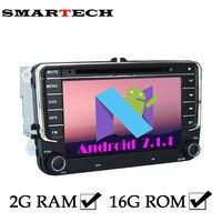 SMARTECH 2Din VW Autoradio 2G RAM Android 7 Auto Dvd-speler Voor Volkswagen POLO PASSAT B6 EOS Golf Bora CanBus Wifi GPS Radio RDS
