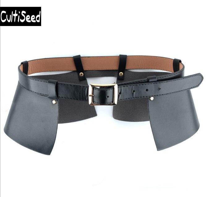 European Female Decorative Imitation PU Leather Wide Waistbands Belt Lady Black Wide Cummerbunds Apparel Accessories