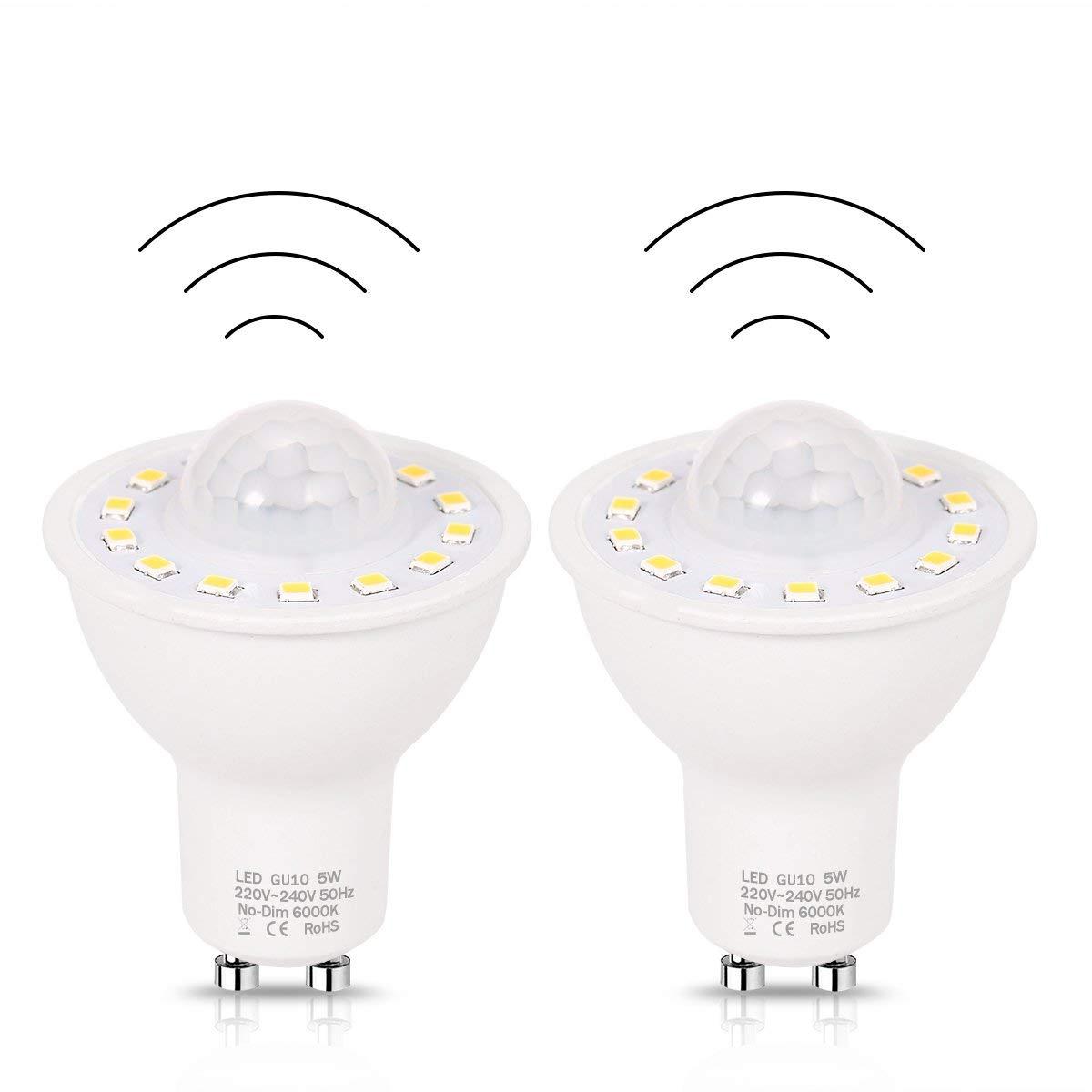 GU10 PIR Motion Sensor LED Light Bulbs 5W,50W Equivalent 500lm Day White 6000K for Stairs Garage Corridor Walkway Hallway-2Pack