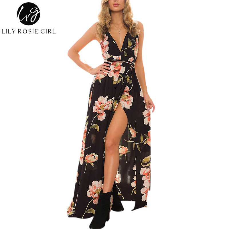 Lily Rosie Girl Women 2018 Black Off Shoulder Sexy Floral Boho Deep V-neck Summer Maxi Dress Hollow Out Beach Dresses Vestidos