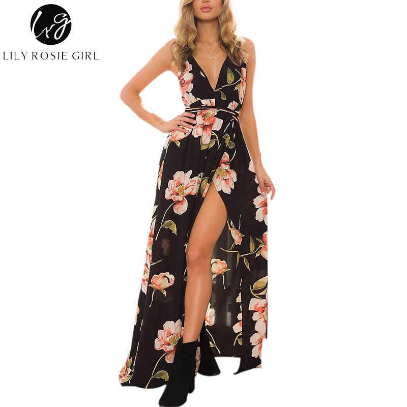 d90fcd9c1e925 Lily Rosie Girl Women 2018 Black Off Shoulder Sexy Floral Boho Deep V-neck  Summer
