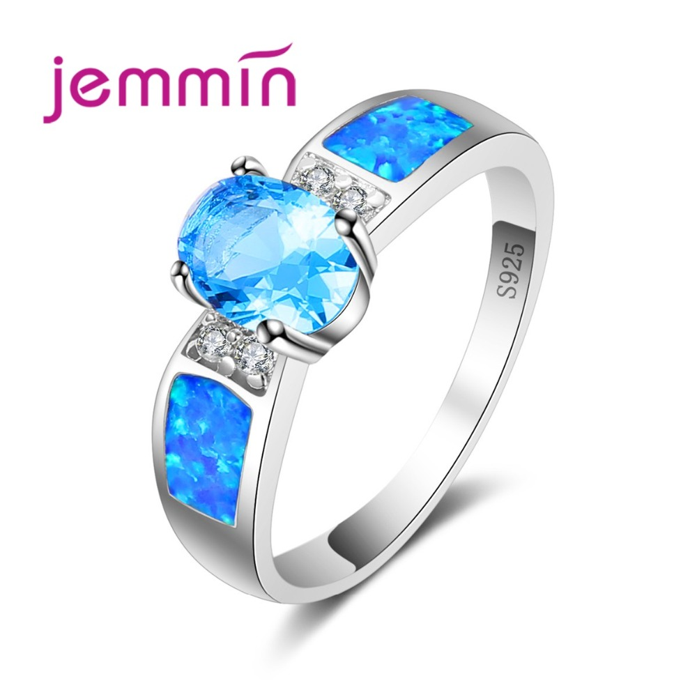 Brand  Jewelry Blue 925 Sterling Silver Finger Ring Fire Opal Promise Ring For Women Femme Best Special Gift