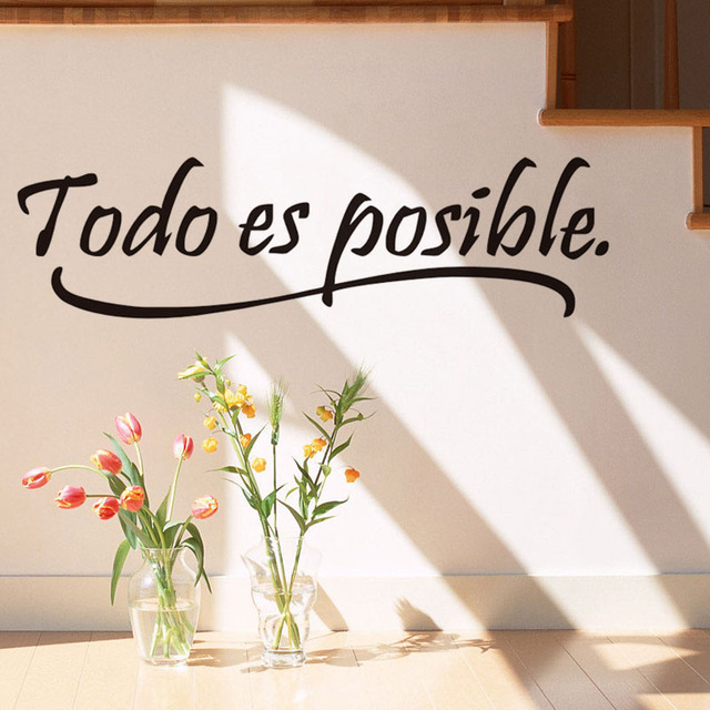 Everything Is Possible Spanish Inspiring Quote Wall Sticker For Living Room Motivational  Quotes Home Decor Wall