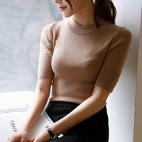 2016 Spring Turtleneck Solid Color Half Sleeve Elastic Basic Sweater Elegant Elbow Length Sleeve