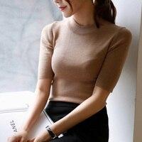women new spring summer Turtleneck solid color half sleeve elastic basic sweater female elegant slim knitted pullover tops