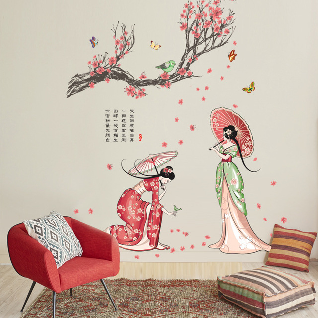 china hanfu dress ancient beauty wall stickers women salon bedroom