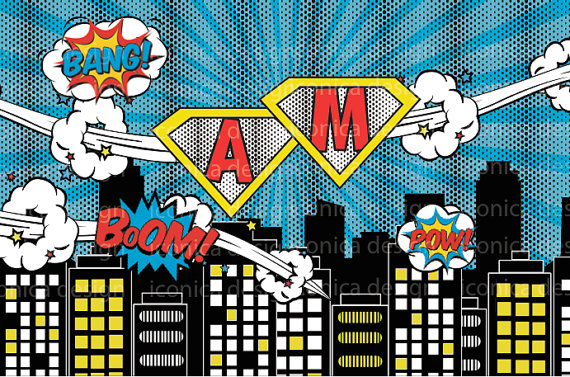 super hero comic theme super city skyline Cartoon background Vinyl cloth High quality Computer print party backdrops
