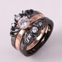 ZHE FAN NOWY Kobiety 3 Pierścienie Zestaw AAA Cyrkonu Czarny Złoty Kolor moda CZ Pierścień Kobieta Party Walentynki Biżuteria Rozmiar 7 8 9