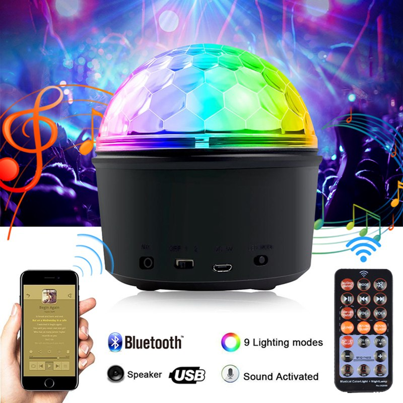 LED Disco Ball Light Lamp Bluetooth Speaker USB Music 9 Colors 9W Portable Mini LED Stage Light Party Lights With Remote Control