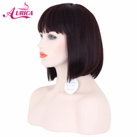 Aurica bungundy Heat Safe Synthetic Hair Non Lace Short Bob Wig With Full Fringe For Women